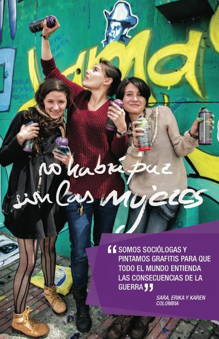 Sara, Erika y Karen, sociólogas y grafiteras dedicadas a llevar la memoria histórica a las calles de Bogotá (Foto: Alex Zapico)